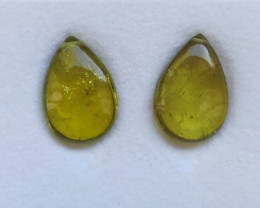 13.24ct Yellow Tourmaline flat Drop Pair