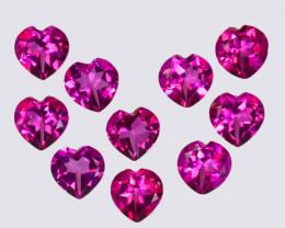 9.75 Cts Candy Pink Natural Topaz 6mm Heart Shape Cut Brazil