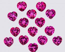 15.40 Cts Candy Pink Natural Topaz 6mm Heart Shape Cut Brazil