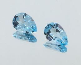 3.05 Carat VVS Topaz Swiss Blue Pear Pair Brazilian Beauty !