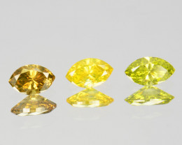 0.31 Cts Natural Diamond Canary Yellow 3Pcs Marquise Cut Africa