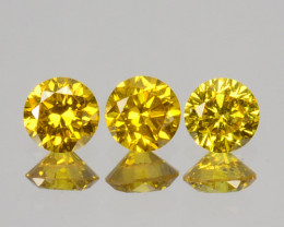 ~SET~ 0.04Cts Natural Sparkling Yellow Diamond 3Pcs Round Africa