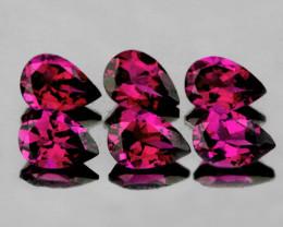 6x4 mm Pear 6 pcs 2.68cts Purplish Pink Rhodolite [VVS]