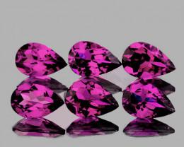 6x4 mm Pear 6 pcs 2.88cts Purple Rhodolite [VVS]