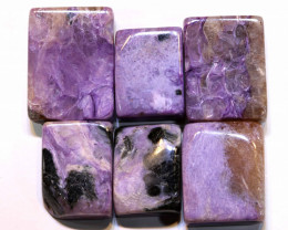 88.7 CTS  PURPLE CHAROITE 6 RECTANGLE STONES ADG-577