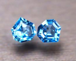 Topaz 1.70Ct 2Pcs Natural Swiss Blue Topaz E1118/A50