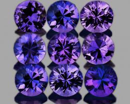 2.80 mm Round Machine Cut 9 pcs Violet-Blue Sapphire [VVS}