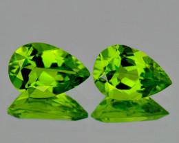 12x8 mm Pear 2 pcs 5.67cts Green Peridot [VVS]