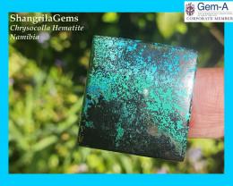 26mm 55.8ct Chrysocolla with Hematite & Malachite Namibia cabochon square o