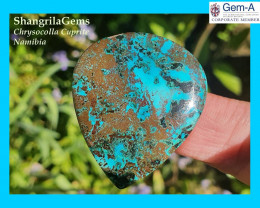 38mm 54.2ct Chrysocolla with cuprite Namibia cabochon drop pear shape 38 by
