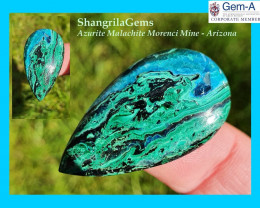 35mm Azurite Malachite cabochon drop pear from Morenci mine Arizona USA 35