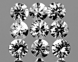 2.90 mm Round 9 pcs 1.12cts White Sapphire [VVS]