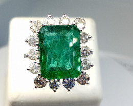 8.78ct Diamond Ring Set With  Emerald , 14kt Solid White Gold