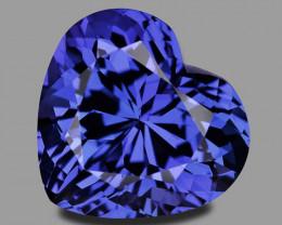 High gem quality custom precision cut vivid blue tanzanite.
