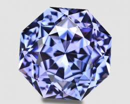 Exquisite, flawless custom precision cut purplish blue tanzanite.