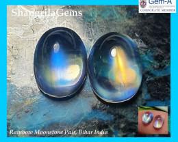 3.4ct 7.8mm AAA Rainbow Moonstone pair cabochon Bihar North India