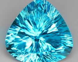 37.53  Carat  Millennium Cut Super Swiss Blue Natural Topaz Gemstones