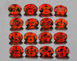 4x3 mm Oval 16 pcs 3.38cts Orange Red Garnet [VVS}