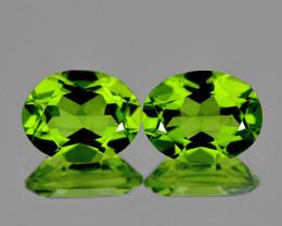 9x7 mm Oval 2 pcs 3.85cts Green Peridot [VVS]