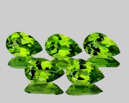 8x5 mm Pear 5 pcs 4.62cts Green Peridot [VVS]