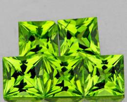 5.00 mm Square Princess 5 pcs 3.21cts Green Peridot {VVS]