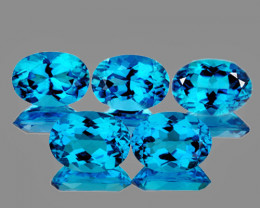 7x5 mm Oval 5 pcs 3.98cts Swiss Blue Topaz [VVS]