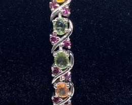 (G) Wonderous Nat 15.89tcw. Multi-Color Sapphire&RG Bracelet Heated Only