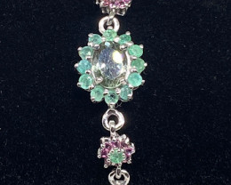 (D) Deluxe Nat 13.35tcw. Multi-Color Tourmaline, Emerald, RG Bracelet