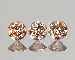 ~UNTREATED~ 0.08 Cts Natural Peach Diamond Round Cut 3Pcs SET Africa