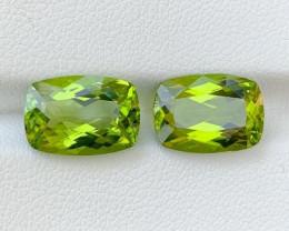 9.10 ct 2 Pcs  Natural Green Peridot