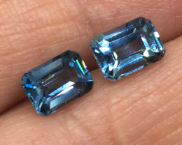 2.75 carat VVS Topaz Swiss Blue Pair Brazilian Beauty !