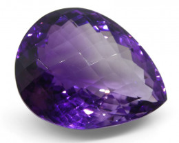 30.9 ct Pear Checkerboard Amethyst