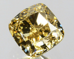 0.42 Cts Natural Untreated Diamond Fancy Yellow Cushion Cut Africa