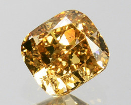 0.25 Cts Natural Untreated Diamond Fancy Yellow Cushion Cut Africa
