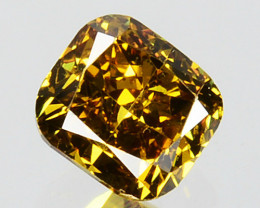 0.29 Cts Natural Untreated Diamond Fancy Yellow Cushion Cut Africa