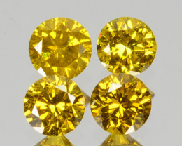 ~SET~ 0.05 Cts Natural Sparkling Yellow Diamond 4Pcs Round 1.40mm  Africa