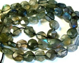 LABRADORITE BLUE FLASHY BEADS  FROM CANADA 80CTS [GT744 ]