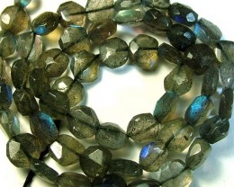 LABRADORITE BLUE FLASHY BEADS  FROM CANADA 77CTS [GT 749]