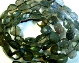LABRADORITE BLUE FLASHY BEADS  FROM CANADA 81CTS [GT759 ]