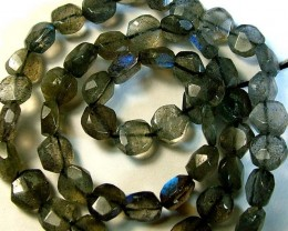 LABRADORITE BLUE FLASHY BEADS  FROM CANADA 76CTS [GT760 ]