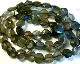 LABRADORITE BLUE FLASHY BEADS  FROM CANADA 81CTS [GT 764]