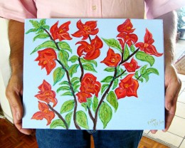 ORIGINAL BOUGANVILLIA PAINTING BY ESTELA