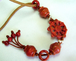 55 CTS  DEEP ORANGE CORAL NECKLACE ADG-1621