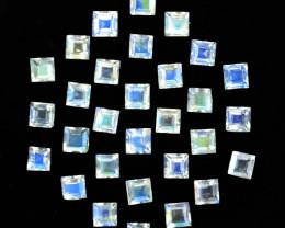 4.95 Cts Untreated Natural Royal Blue Moonstone Square Cut 3mm  Bihar India