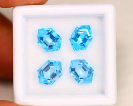 Swiss Topaz 5.92Ct Calibrated Hexagon 9x6mm Natural Blue Topaz Lot C1607