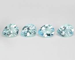 5.55 Cts 4 Pcs. Unheated  Sky Blue Color Natural Aquamarine Loose Gemstones