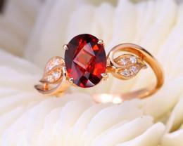 14K Rose Gold Authentic Spessartite Diamond Engagement Ring GR02