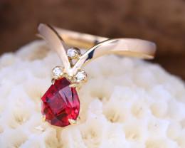 14K Yellow Gold Authentic Mahenge Garnet Diamond Engagement Ring GR03