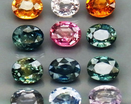 5.34 ct.   5.0 MM. MULTI COLOR SAPPHIRE NATURAL GEMSTONE 12 pcs