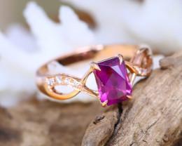 14K Rose Gold Authentic Umbalite Garnet Diamond Engagement Ring GR05